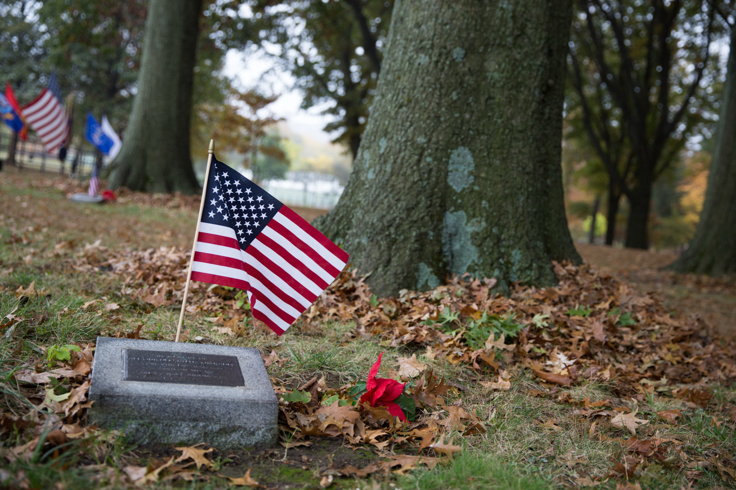 A World War II memorial in Memorial Grove, decorated by Herb Barret, honors the memory of fallen soldiers. Donald Tannen, who died in 2014, helped Barret in his effort to restore the grove in 2007.