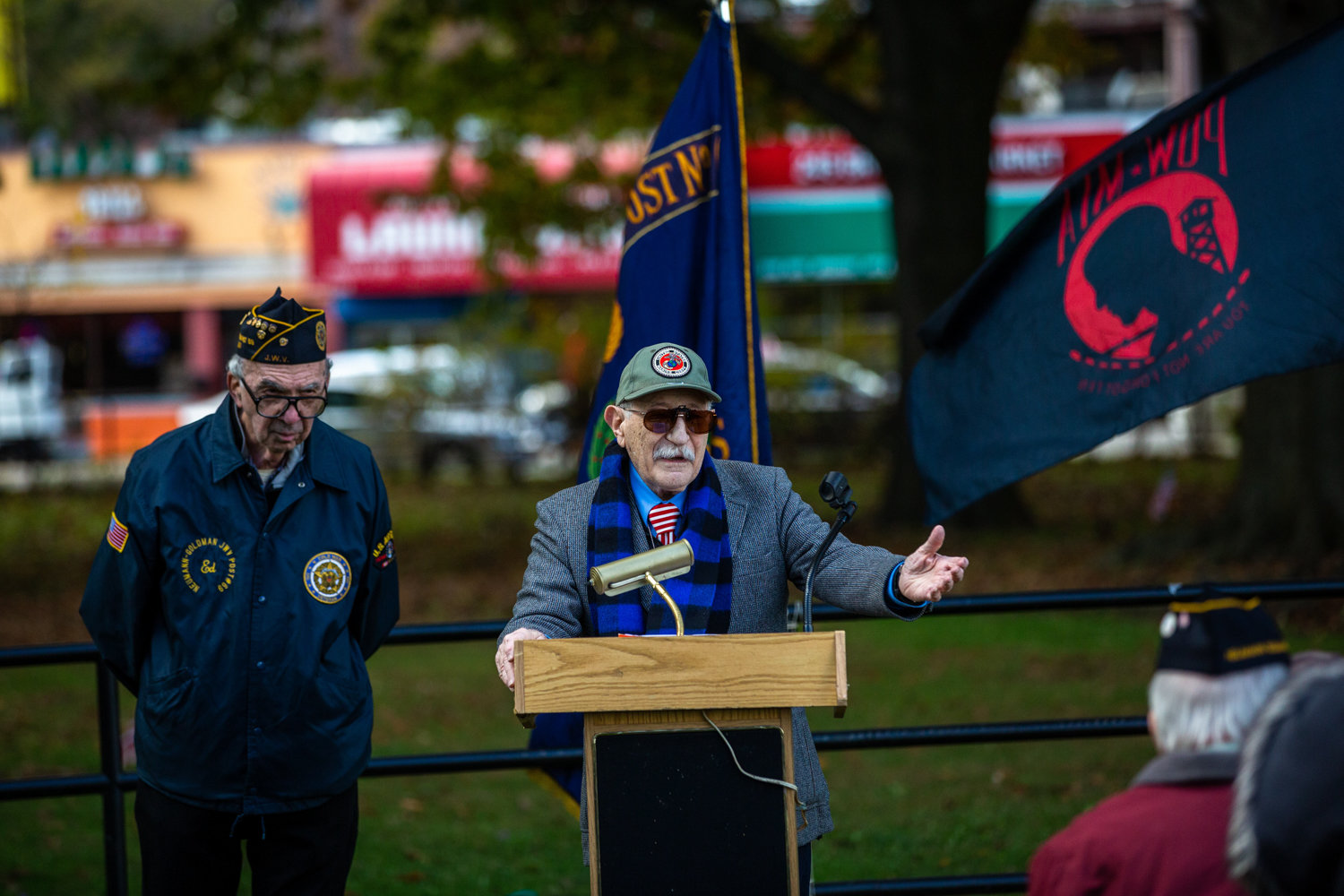 Korean War veteran Herb Barret speaks at a Veterans Day celebration in Van Cortlandt Park's Memorial Grove on Nov. 3. Barret inaugurated the celebration with fellow veteran Donald Tannen, who passed away in 2014.