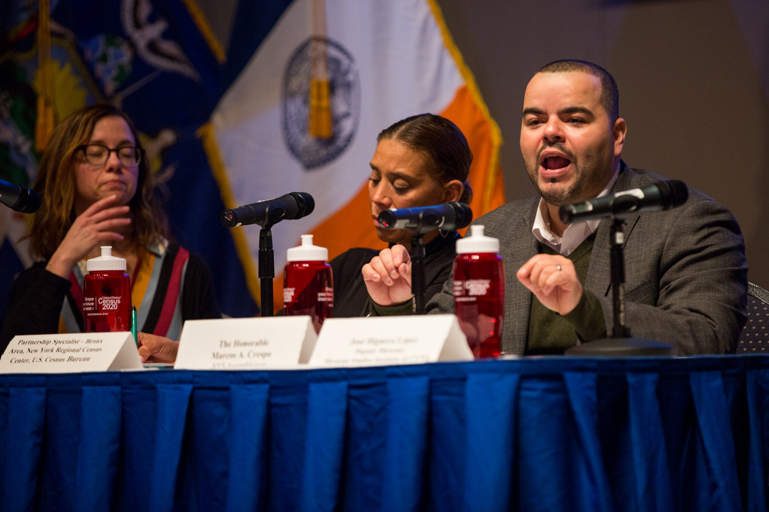 Assemblyman Marcos Crespo emphasizes the necessity of getting an accurate count for the census during a panel discussion at Lehman College, and how marginalized communities are disproportionately affected by being undercounted.
