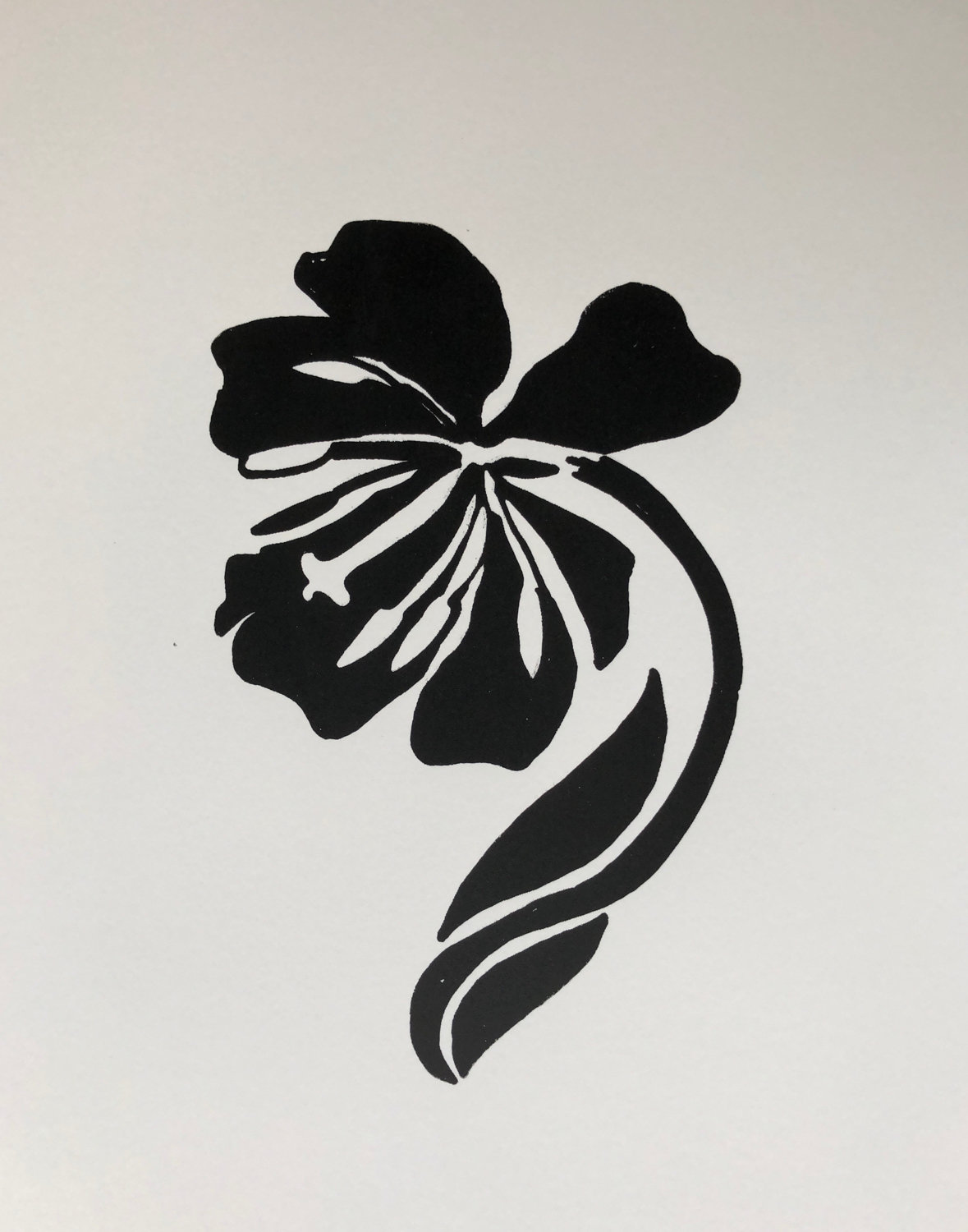 Aija Sears' 'Tulip' is included in the exhibition 'Black & White,' a group of monochrome paintings by Riverdale Art Association members, on display at the Riverdale-Yonkers Society for Ethical Culture through Nov. 25.
