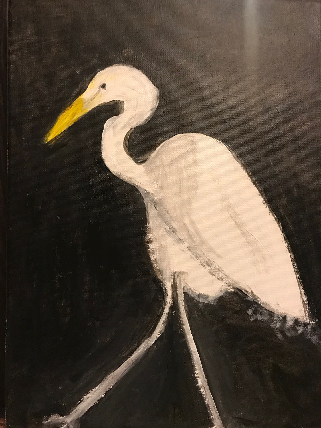 The group exhibition 'Black & White' brings together monochrome paintings by Riverdale Art Association members like Anne Price and her work 'Egret.'