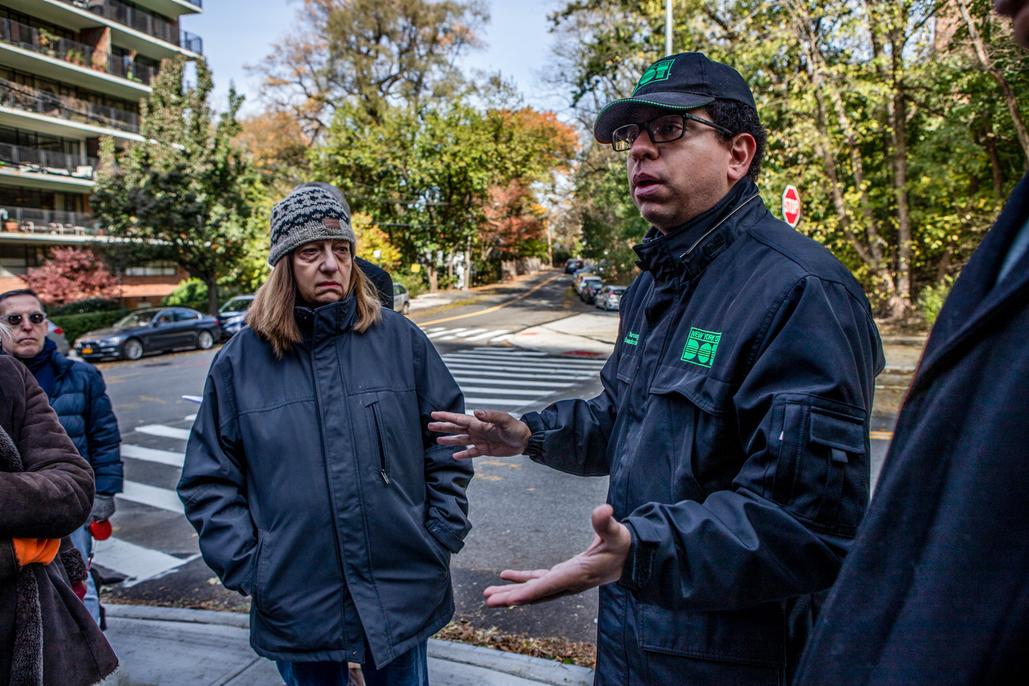 Nivardo Lopez, Bronx borough commissioner for the city's transportation department, accepts responsibility for not doing enough community outreach about the changes to the intersection of Kappock Street and Palisade Avenue during a meeting there Nov. 9.