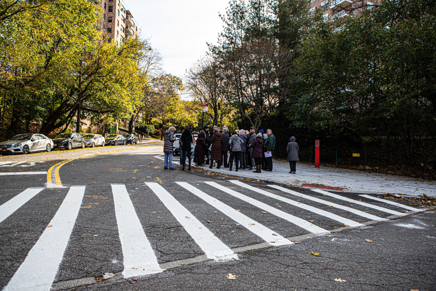 Community members met Nov. 9 with DOT's Bronx borough commissioner Nivardo Lopez at the intersection of Kappock Street and Palisade Avenue where curb extensions have earned the ire of drivers and pedestrians alike.