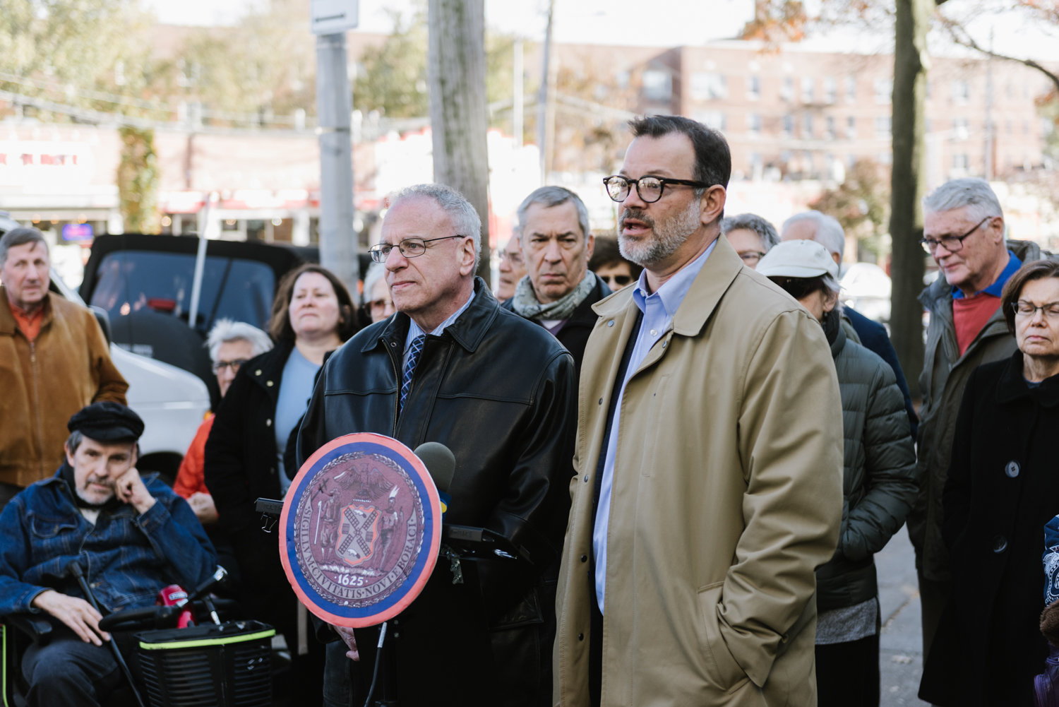 Assemblyman Jeffrey Dinowitz and Councilman Andrew Cohen speak against Montefiore Medical Center's reported plan to revive efforts to build a 10-story health care facility on the empty lot south of the intersection of West 238th Street and Riverdale Avenue.