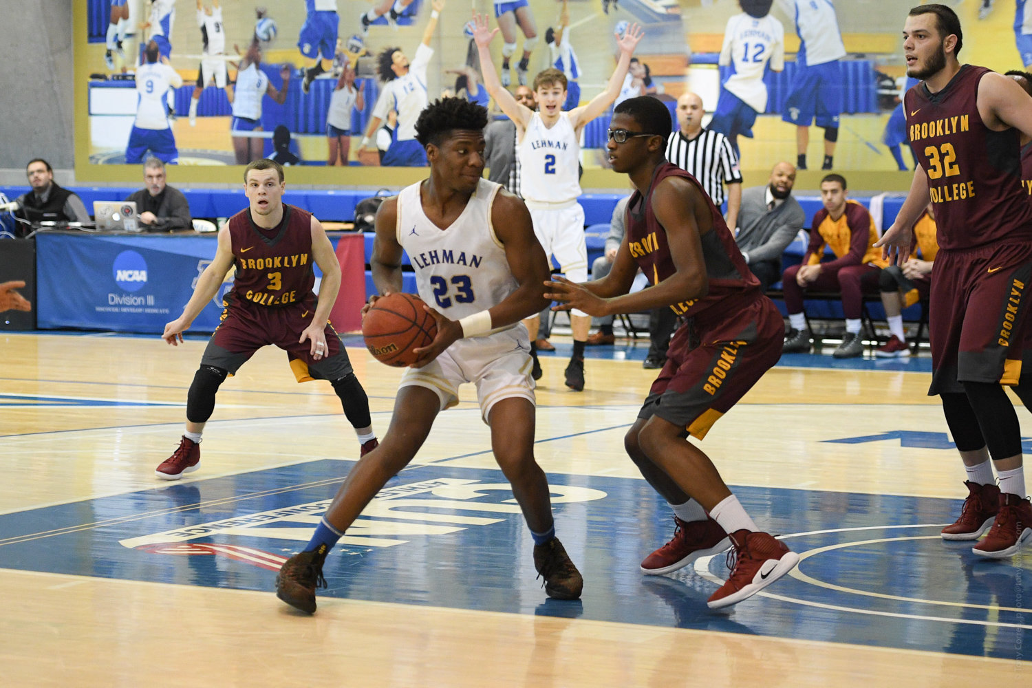 Lehman College junior Isaiah Geathers scored six of his 15 points in overtime in the Lightning's three-point win over Keystone College last week.