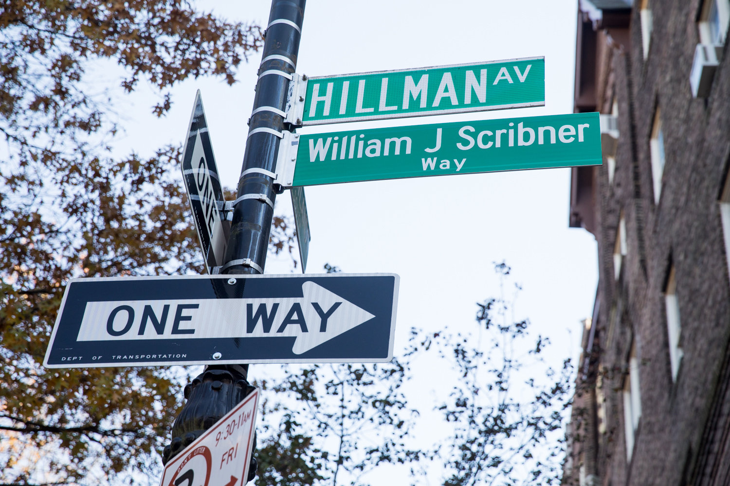The corner of Hillman Avenue and Van Cortlandt Park South is now  ceremonially named for Bronx Arts Ensemble founder William Scribner, who died in 2016.