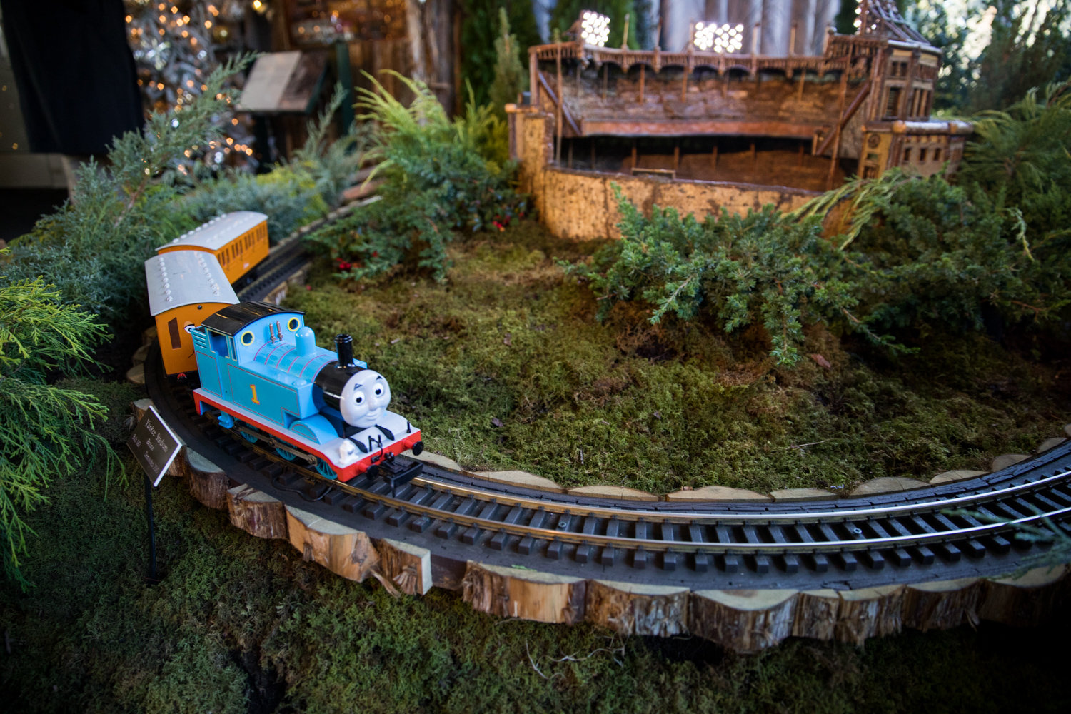Thomas the Tank Engine makes its way around a replica of Yankee Stadium in the Holiday Train Show at the New York Botanical Garden.