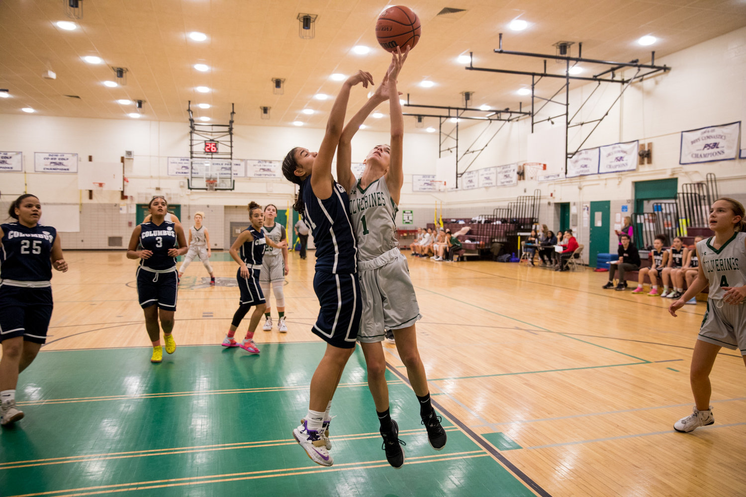 Bronx Science rising sophomore Anna Vikatos muscles her way for two of her game-high 18 points in the Wolverines' win over Columbus last week.