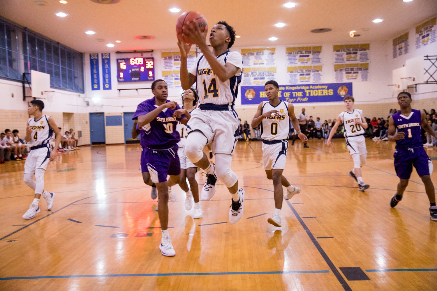 Riverdale/Kingsbridge Academy senior Jacques Zoumanigui scored 11 points against South Bronx, but it wasn't enough to carry the Tigers in an 80-60 loss to the Phoenix.