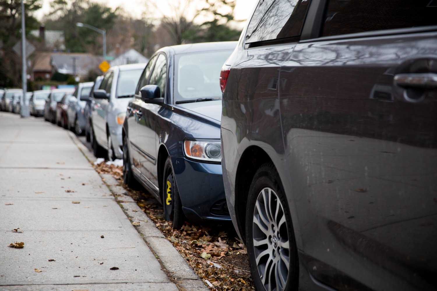 Cars are parked along Arlington Avenue between West 256th and West 259th streets, a stretch of road that can be occasionally difficult for finding a spot to leave your car behind.