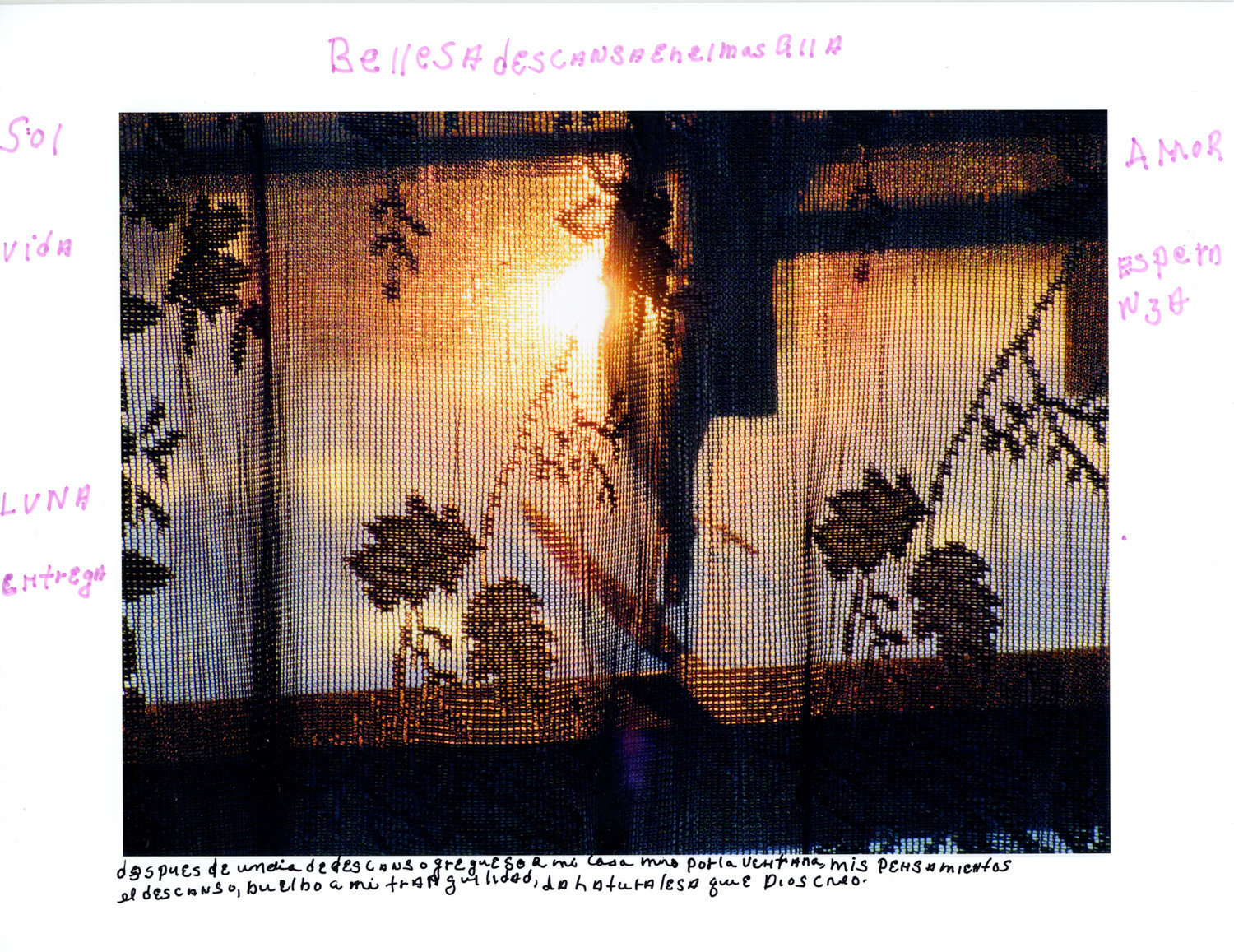 Carmen Adorno photographed the late day sun through a curtain she made in her home, and wrote musings in Spanish on the print. Adorno is a member of the Bronx Senior Photo League, which is having a group exhibition at the Bronx Documentary Center through Feb. 2.