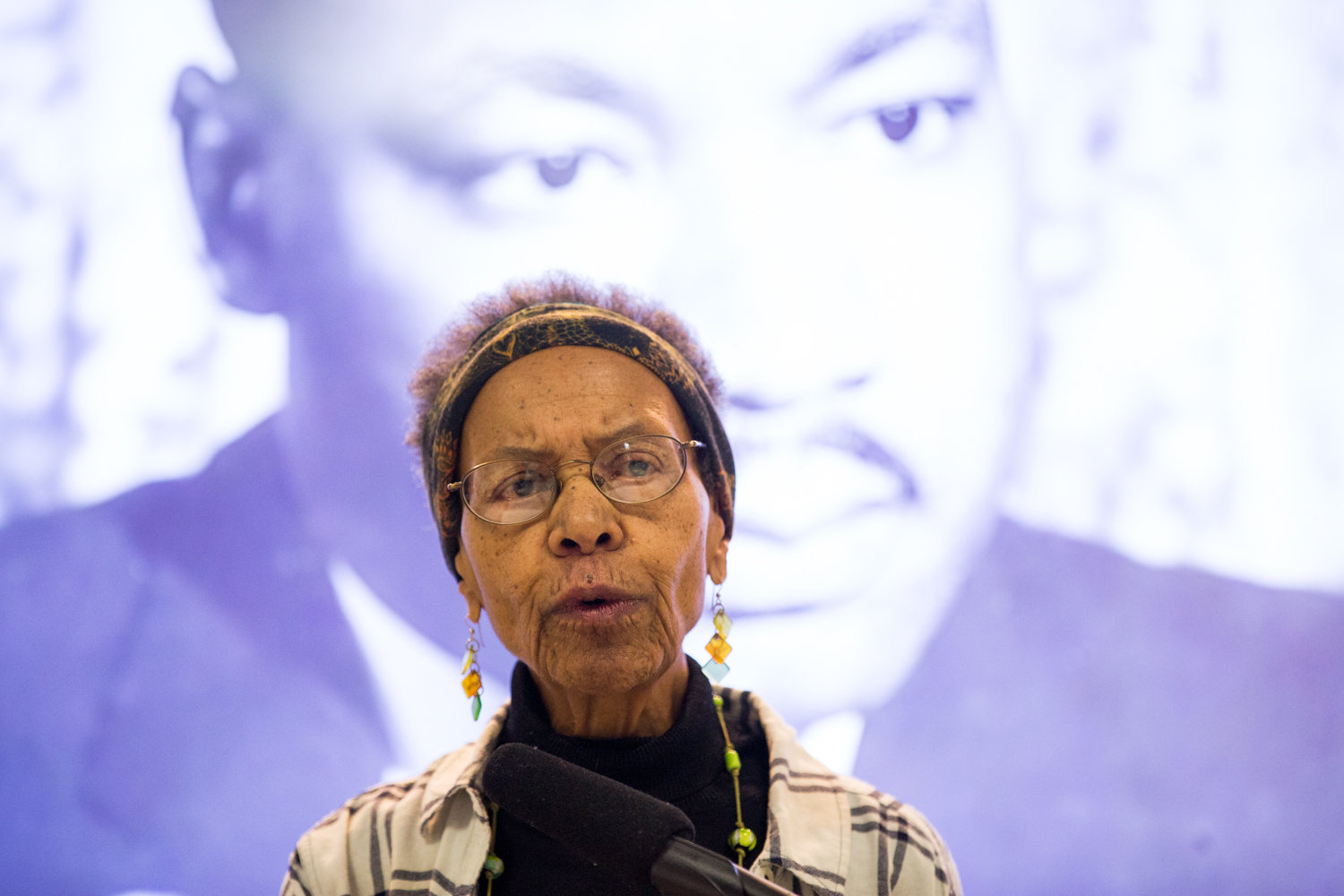 Ernece Kelly talks about the life and work of Martin Luther King Jr., with whom she worked for in Chicago, during a presentation at RSS-Riverdale Senior Services last week about the civil rights icon's legacy.