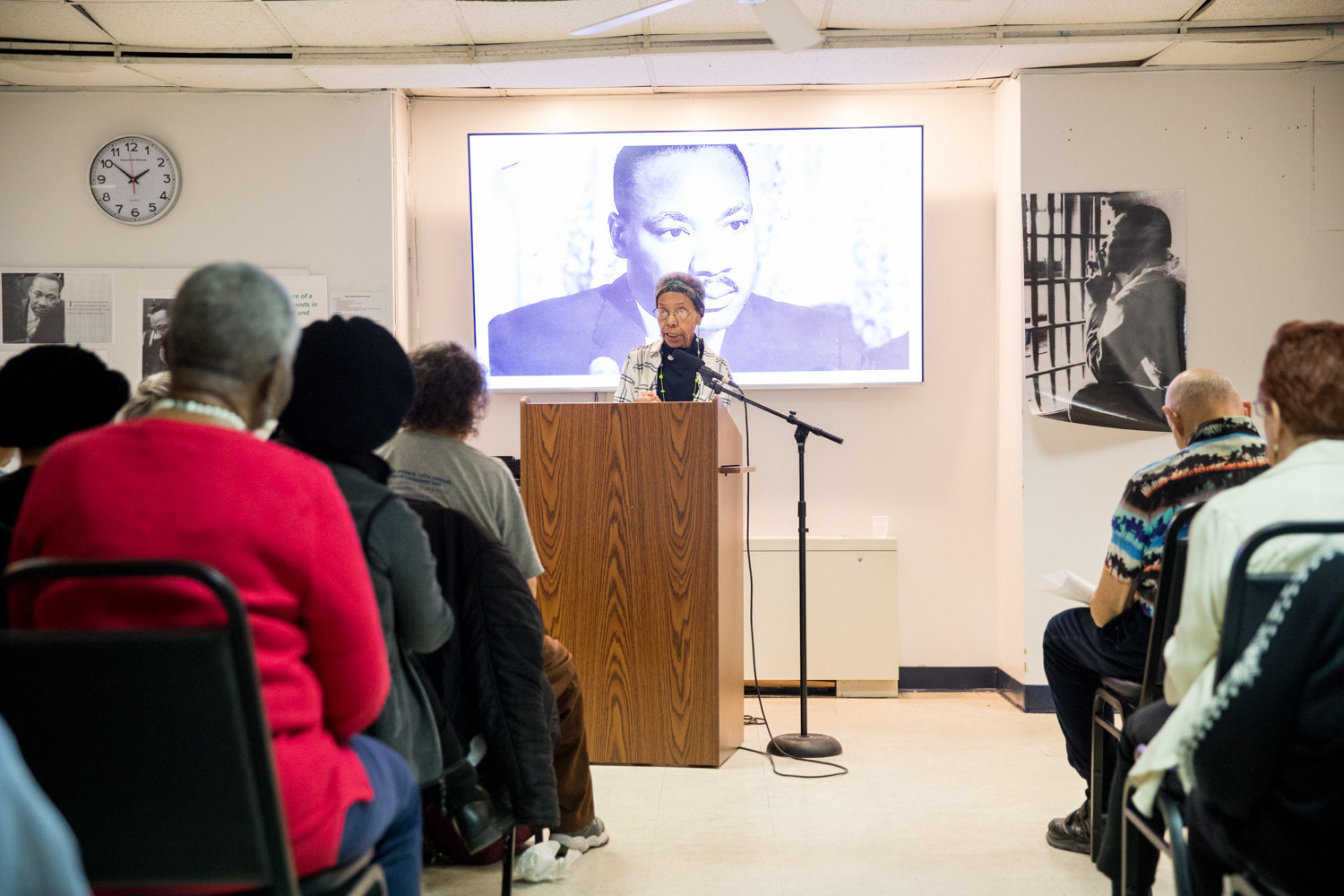 Ernece Kelly discusses the legacy of Martin Luther King Jr., with whom she worked in Chicago, during a presentation about the activist's legacy at RSS-Riverdale Senior Services last week.