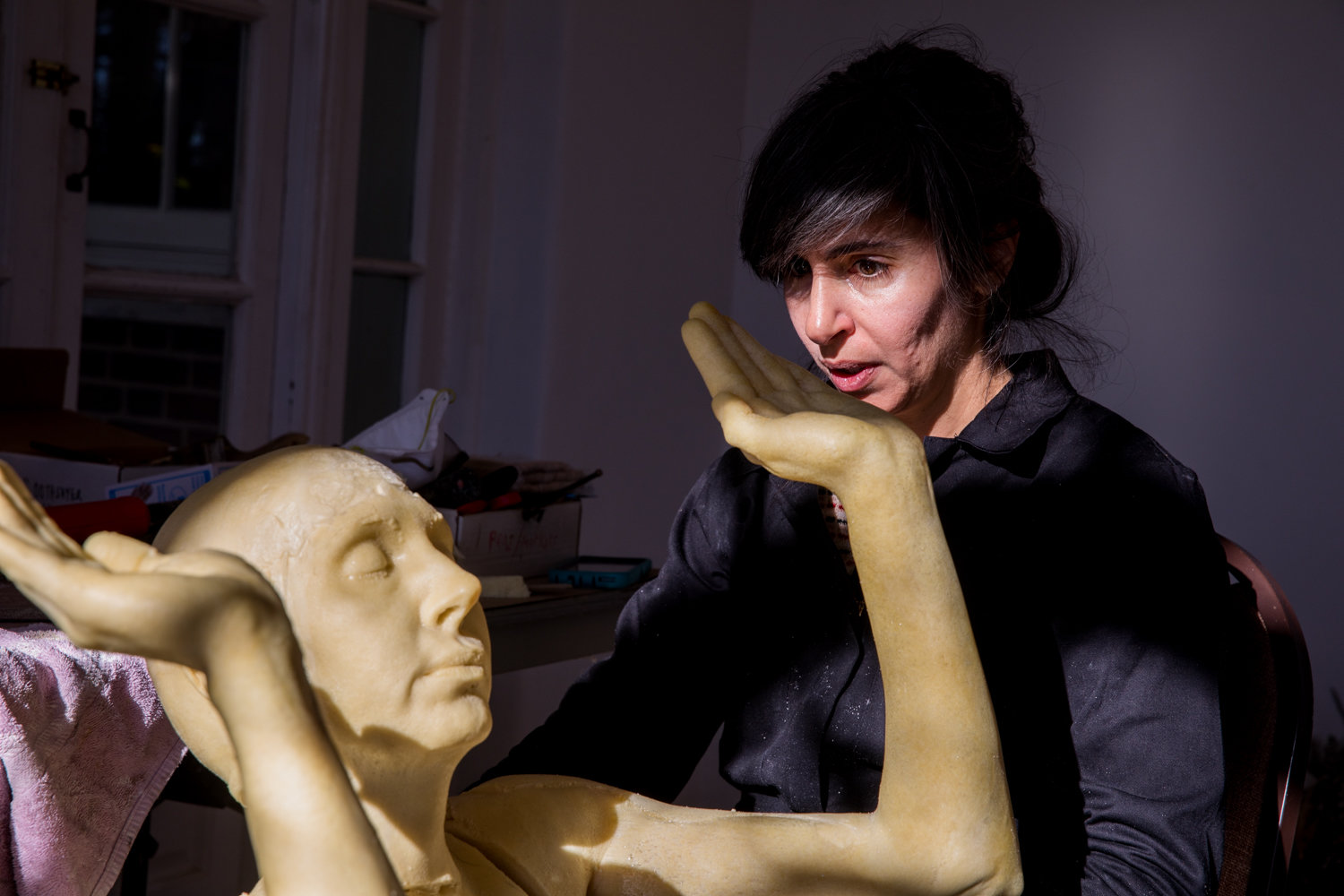 Kymia Nawabi works with a mannequin as part of her costume design project for her Winter Workspace residency at Wave Hill.