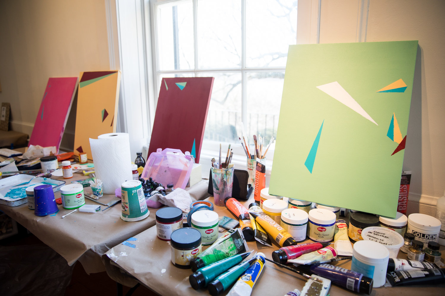 Ezra Benus is working on a series of paintings that uses medication as a jumping off point for his Winter Workspace residency at Wave Hill.