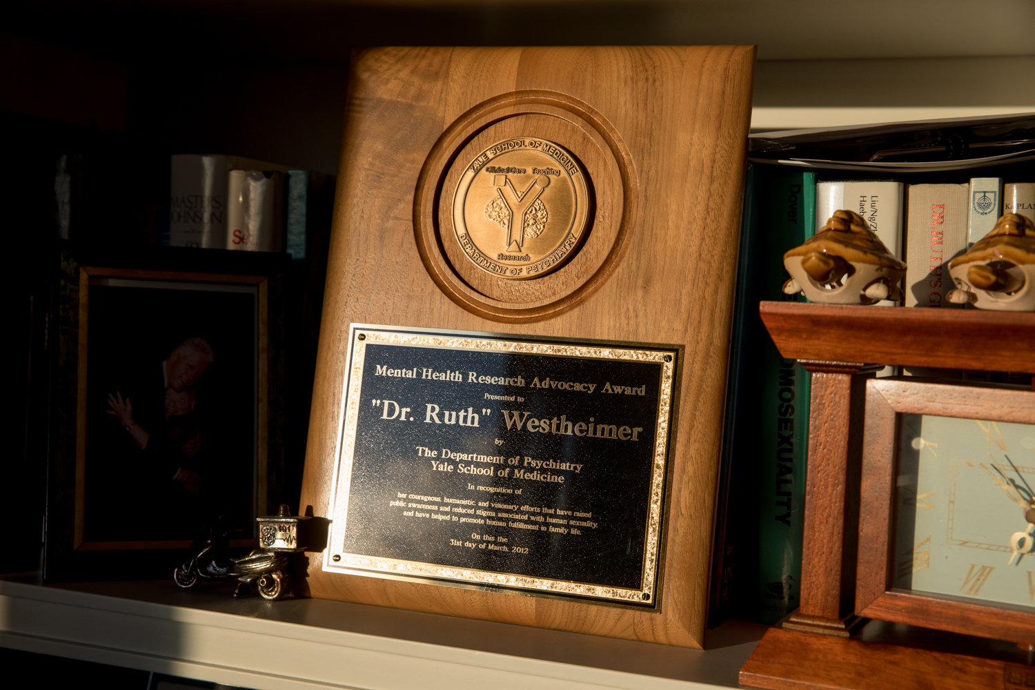 An award honoring Dr. Ruth K. Westheimer sits on a shelf in her Hudson Heights apartment. The famed sex therapist is no stranger to awards, and this May she'll receive another one when American Associates Ben-Gurion University of the Negev in Israel give her an honorary doctorate to go with her real one.