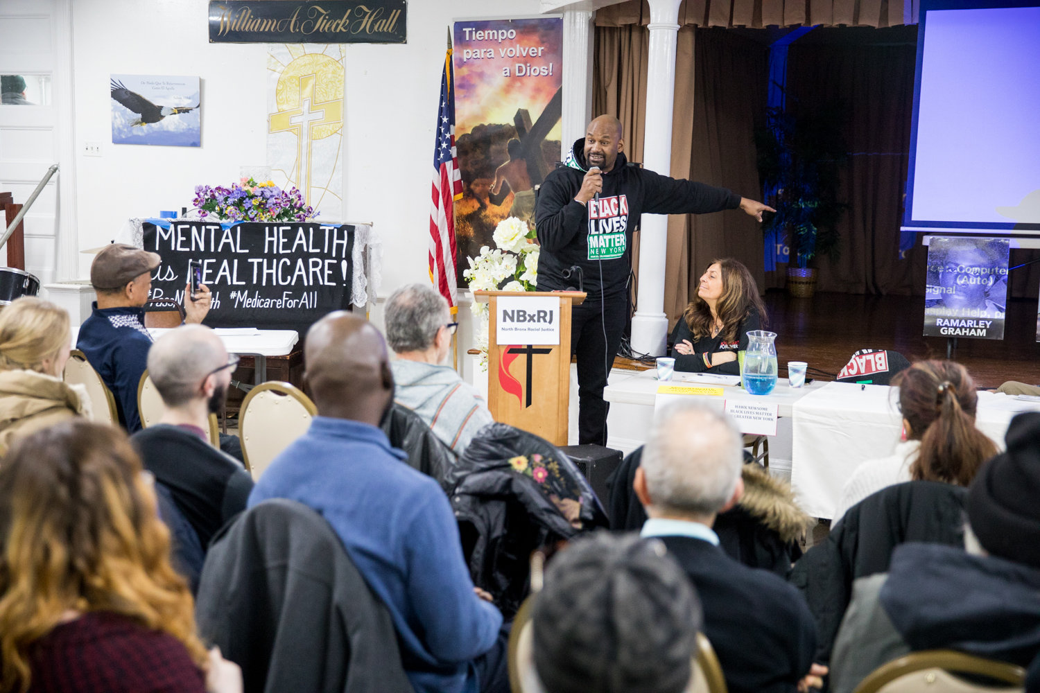 Black Lives Matter of Greater New York president Hawk Newsome speaks at a panel discussion on mental health and police activity in communities of color at St. Stephen's United Methodist Church on Martin Luther King Jr. Day.