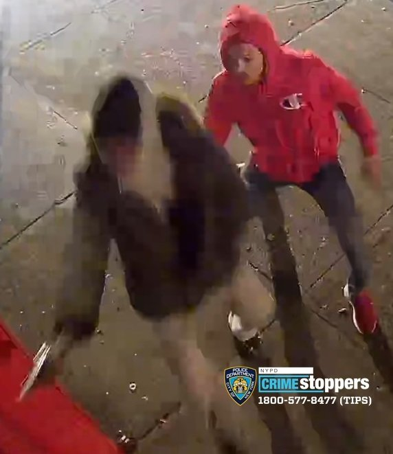 Investigators with the New York Police Department are looking for these two men in connection with the shooting of a 19-year-old at his front door near the intersection of Waldo Avenue and West 238th Street early Saturday morning.