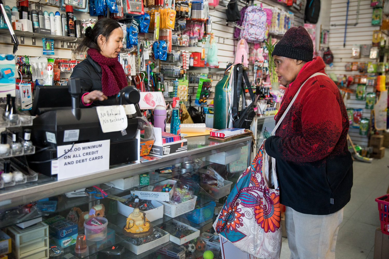 Kay Lin rings up Carole Bythewood at Family Discount on Riverdale Avenue. Bythewood feels the plastic bag ban that goes into effect March 1 is a good thing, and to that end, she brings her own reusable bags when she goes shopping.