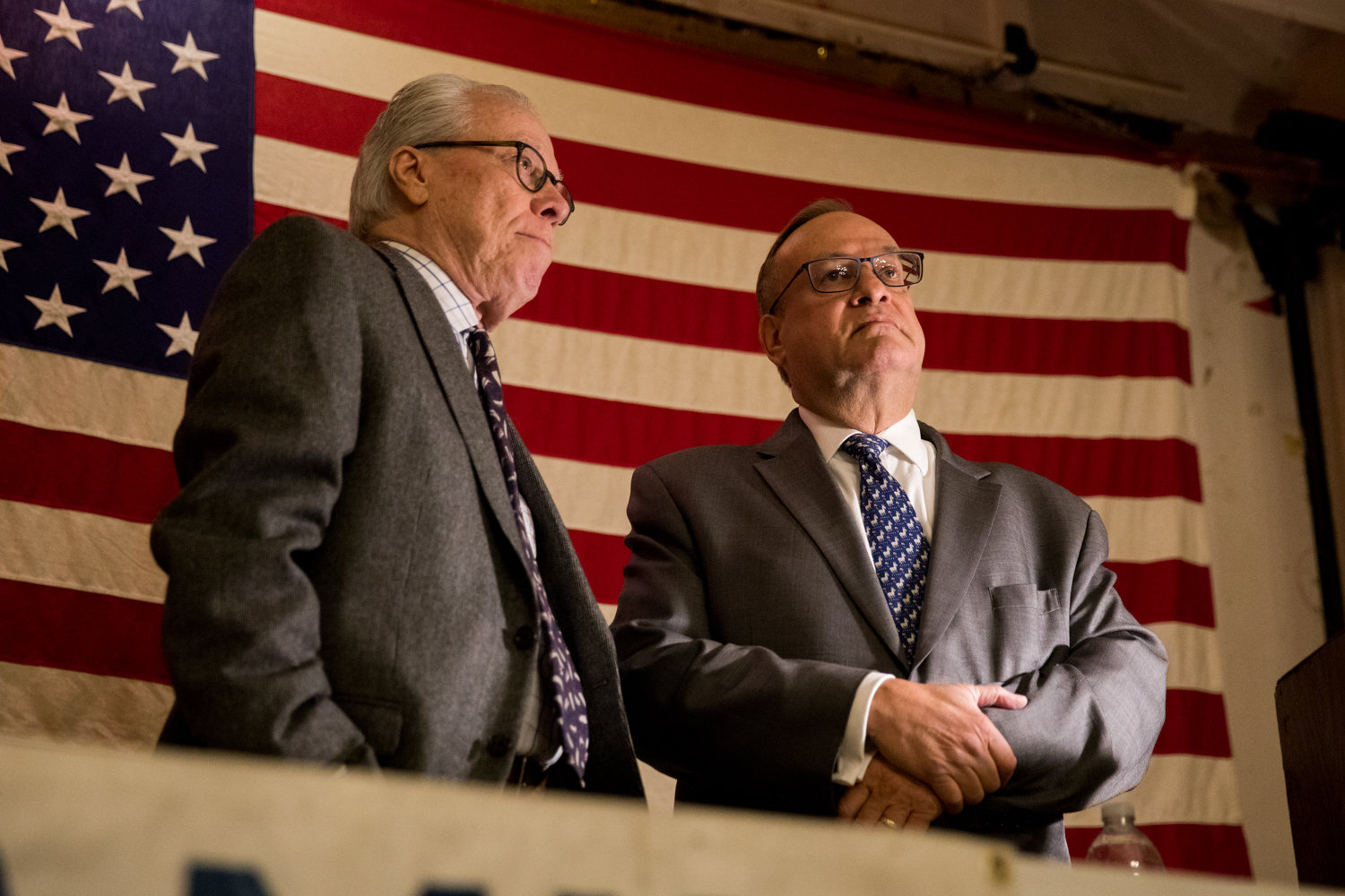 Benjamin Franklin Reform Democratic Club president Michael Heller, right, and vice president Bruce Feld preside over the club's annual meeting. Despite facing unexpected challengers to their positions, both men retained their spots in the club's leadership election.