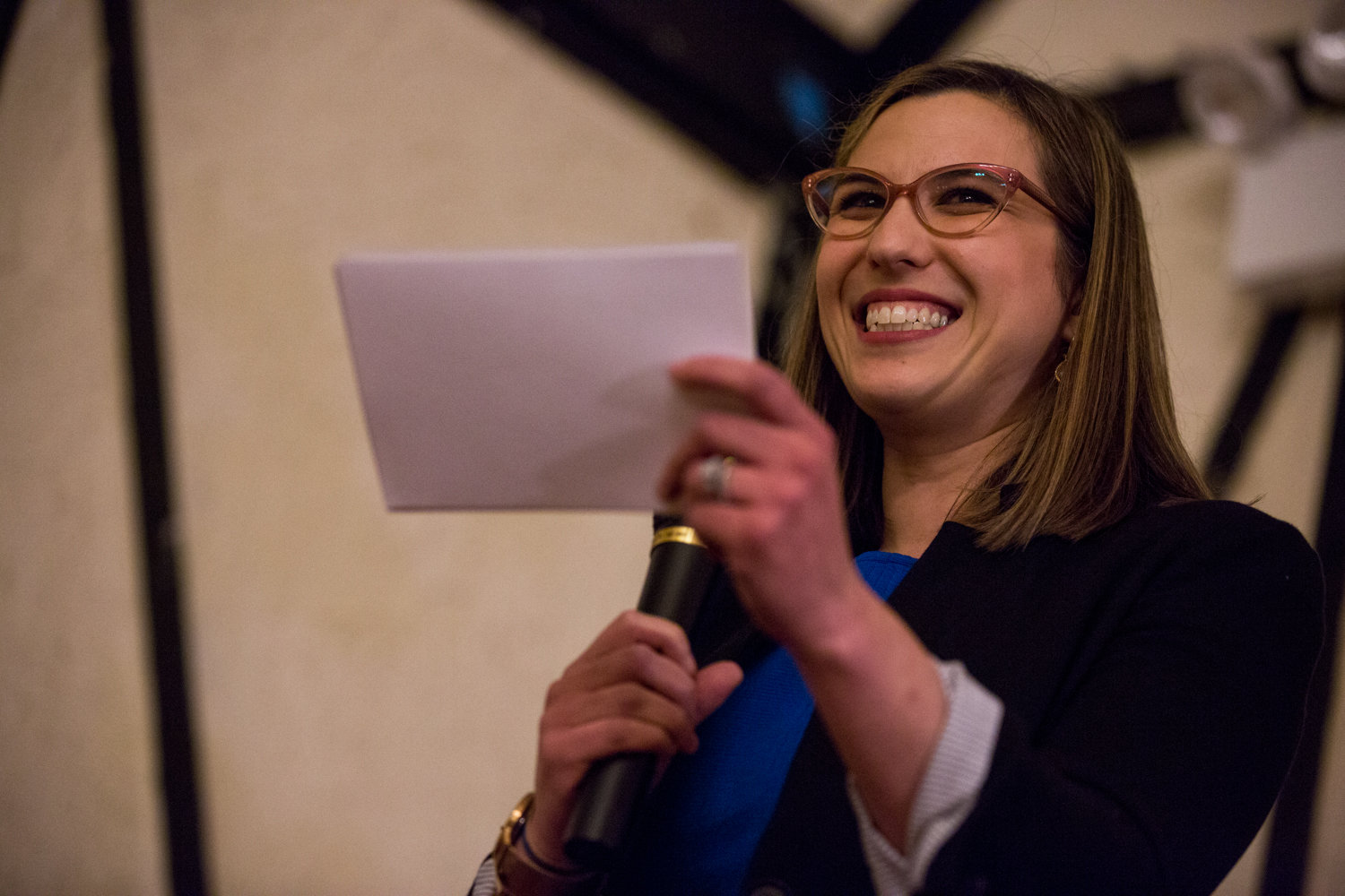 Morgan Evers makes her case for president of the Benjamin Franklin Reform Democratic Club during the club's annual meeting Jan. 29. She challenged incumbent Michael Heller, but ultimately lost 243-153.