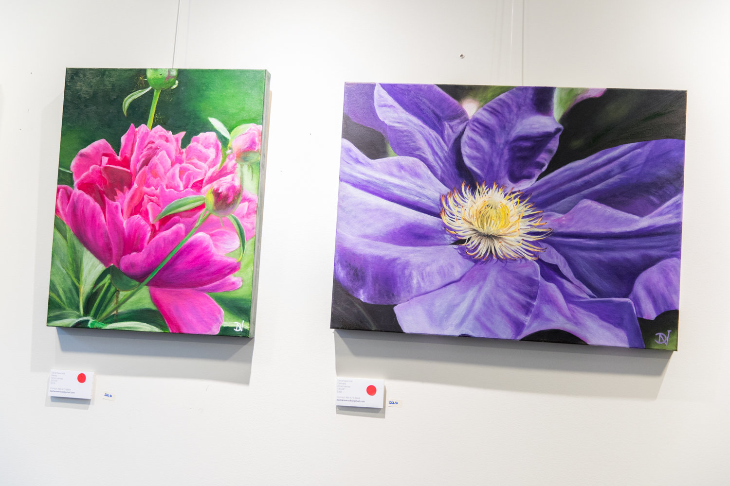 'Peony,' left, and 'Clematis' are two of the paintings included in the exhibition 'Flourish,' on display at Buunni Coffee at 3702 Riverdale Ave., through March 31.