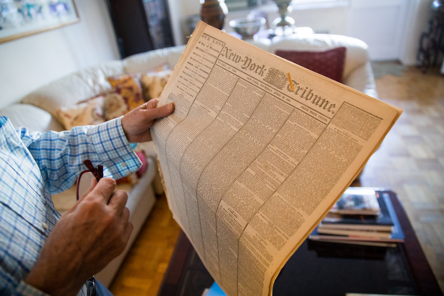 Among Ron Rubin's extensive newspaper collection is a copy of the New York Tribune from April 20, 1865, five days after Abraham Lincoln's assassination.
