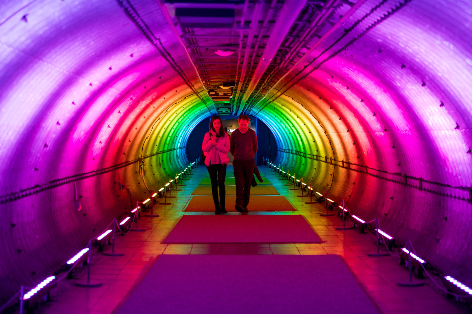 Visitors walk through the rainbow tunnel between rooms in the Enid A. Haupt Conservatory for 'The Orchid Show,' on display at the New York Botanical Garden through April 19.