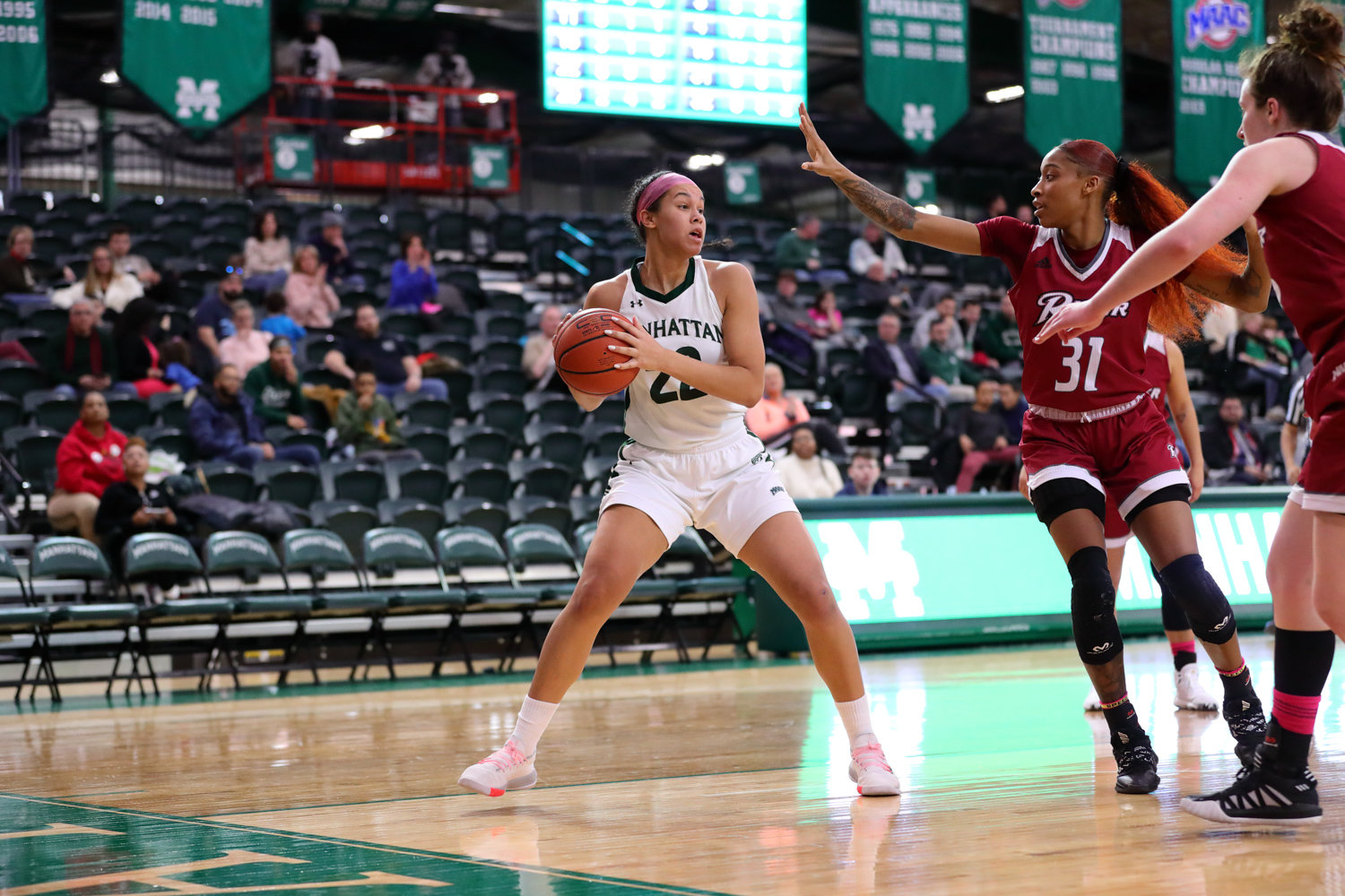 Manhattan junior Courtney Warley turned in a dominant performance against Monmouth last week, logging a double-double with 17 points and 10 rebounds in the Jaspers' victory over the Hawks.