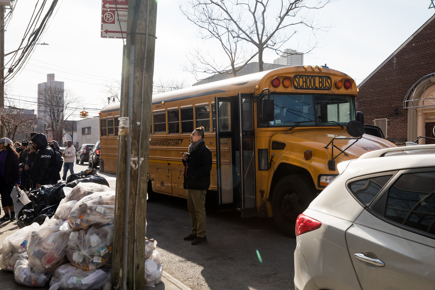 Amber Charter School students board a school bus, an activity that could soon be a thing of the past if administrators get their way. Some parents are fighting the school's plan to discontinue bus service later this year.
