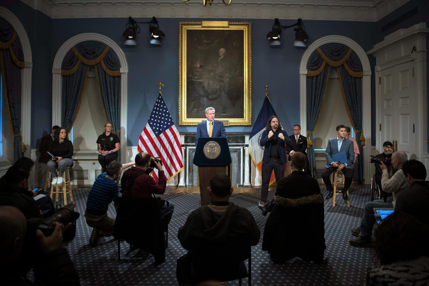 Mayor Bill de Blasio talks about measures the city is taking — including closing public schools until at least April 20 — at a March 15 news conference.