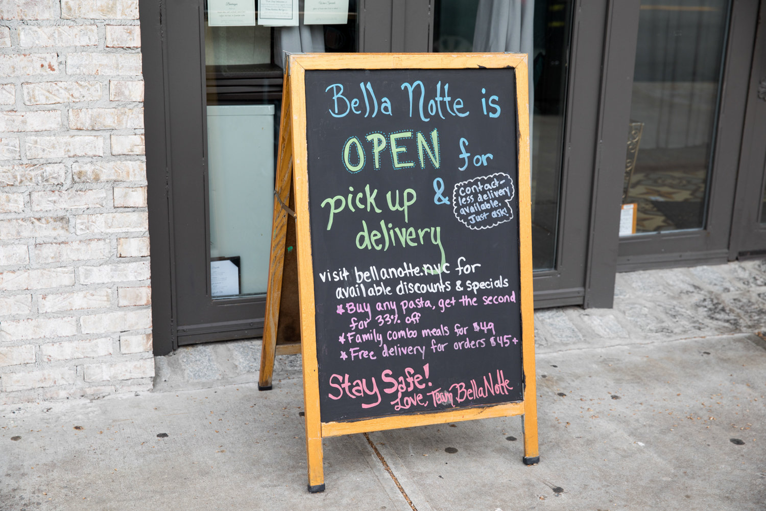 A sign posted outside Bella Notte on Johnson Avenue informs passersby it's open for food pick-up and delivery only. The move was a result of the pandemic. Yet, not all businesses could survive on pickup and delivery alone.