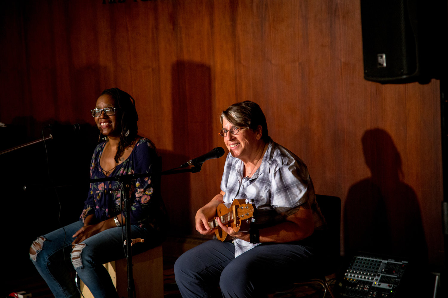 DK & the Joy Machine, right, plays folk music with Lindsey Wilson, left, during a Coffee House event at the Riverdale-Yonkers Society for Ethical Culture in 2018. Live performances can no longer be found at the society as a consequence of the coronavirus pandemic.