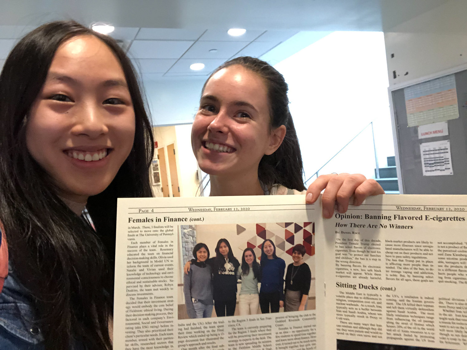 Olivia Pollack and Rosemary Jiang were thrilled about being featured in the Feb. 12 issue of The Fieldston News. Pollack and Jiang are members of Ethical Culture Fieldston School's Females in Finance Club, which had an impressive first year before the coronavirus pandemic intervened.