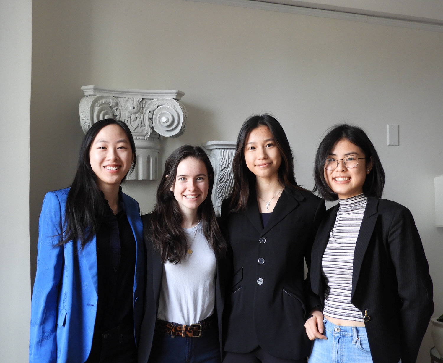 Ethical Culture Fieldston School students Rosemary Jiang, left, Olivia Pollack, Vivian Lee and Natalie Chen want to teach women about financial literacy. They're the founding members of the school's Females in Finance Club.