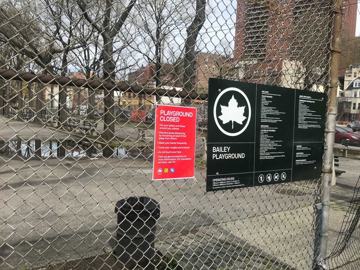 Bailey Playground between West 234th and West 237th streets remains closed during the coronavirus pandemic statewide lockdown.