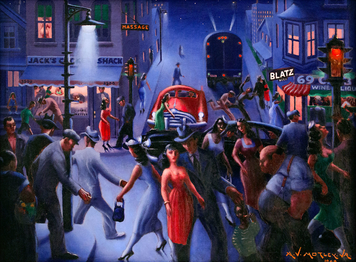 Archibald John Motely Jr.'s 'Bronzeville at Night' is one of the Hudson River Museum's chief pieces in its 'Self in the City' exhibit, which has become available to the public thanks to the Museum from Home program during the coronavirus pandemic.
