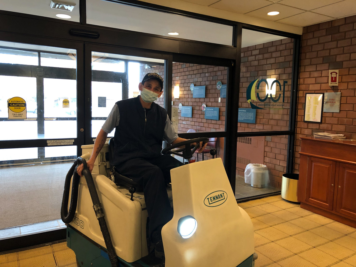 Eloy Torres, a housekeeper at the Hebrew Home at Riverdale, is an essential part of keeping the Palisade Avenue facility clean. That role has taken a renewed significance since the advent of the coronavirus pandemic.