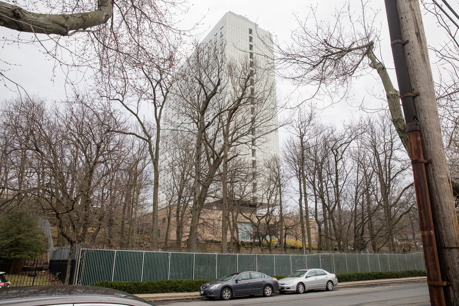 The Russian Mission looms large over Mosholu Avenue. It was built by the Soviet Union from the top down in 1974.