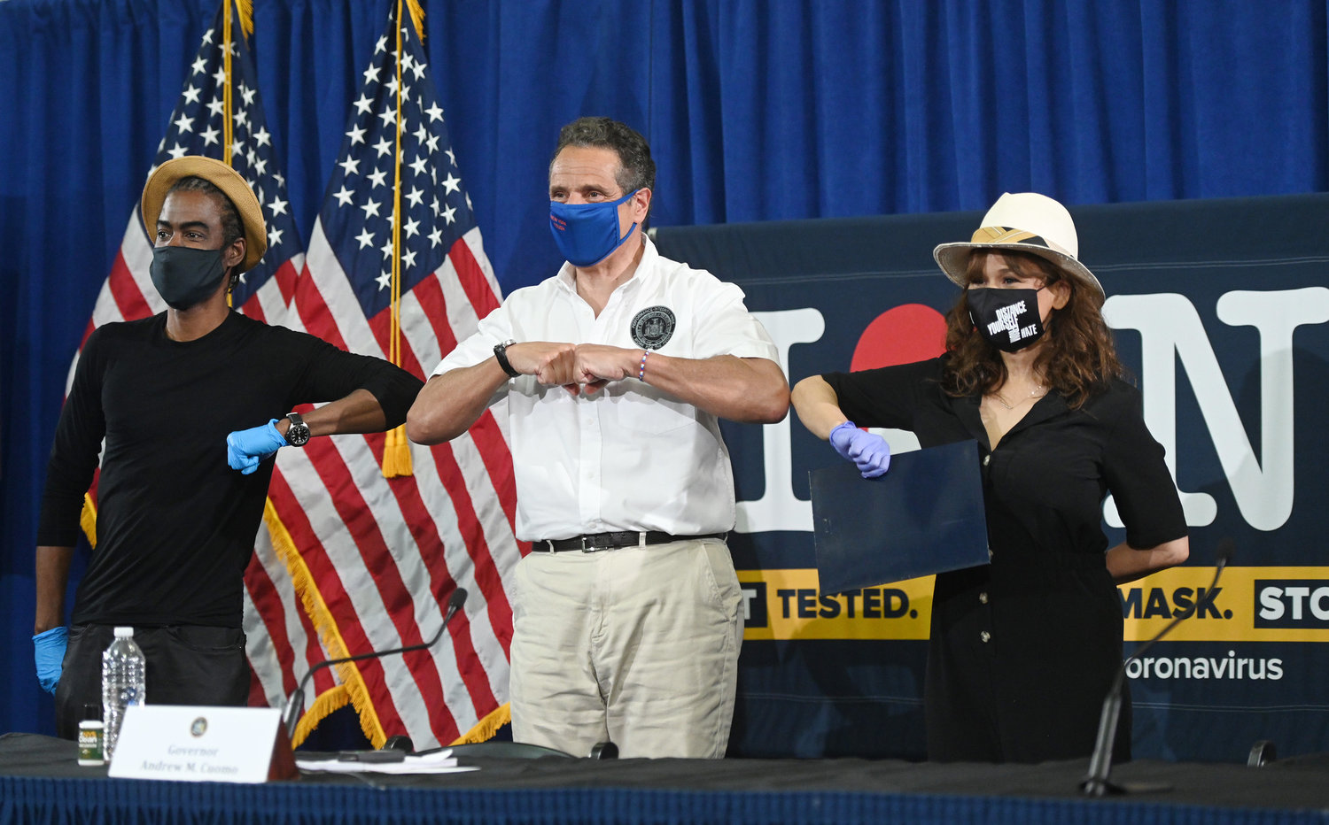 Comedian Chris Rock and actress Rosie Perez joined Gov. Andrew Cuomo in Brooklyn on Thursday for his daily coronavirus briefing.