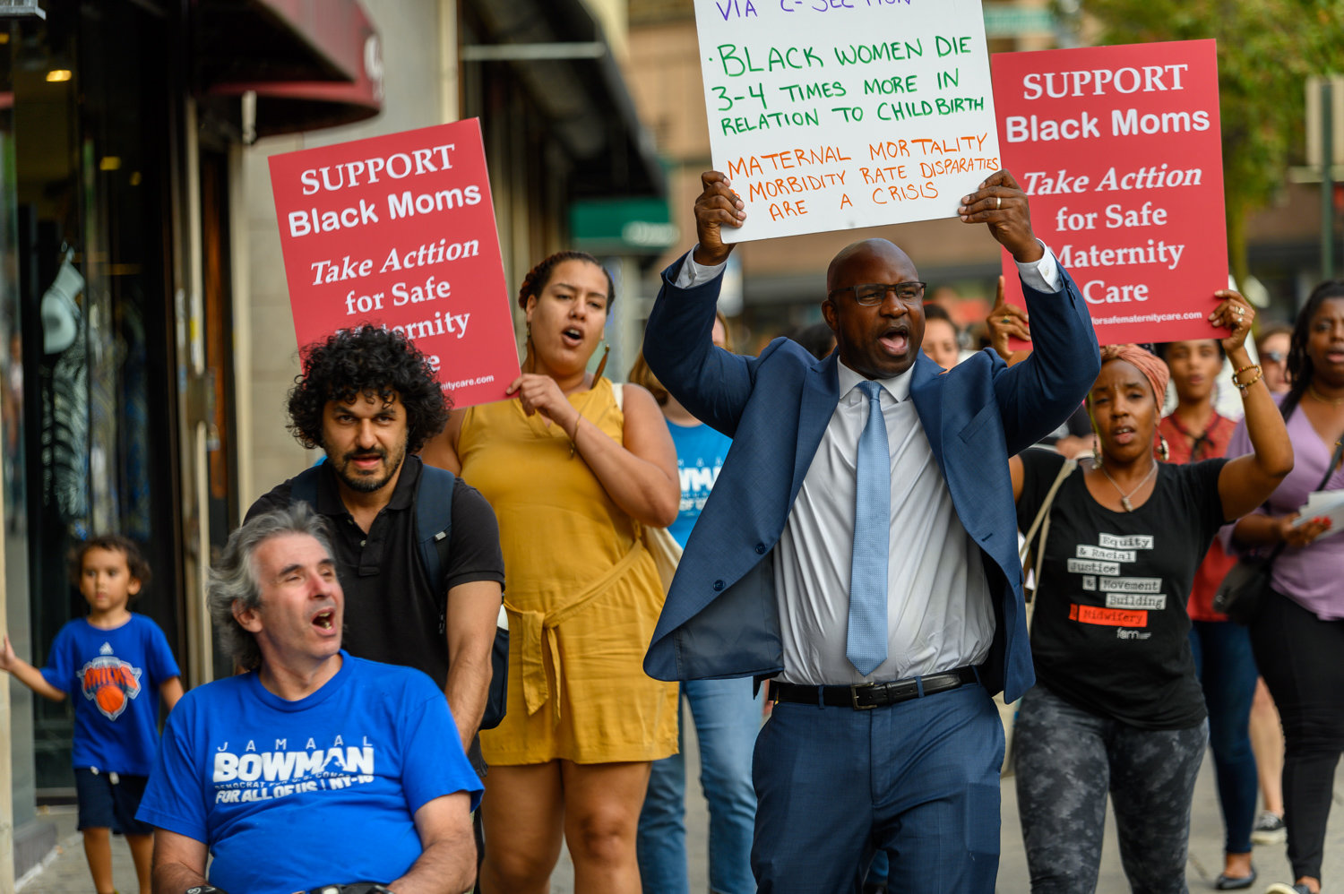 Jamaal Bowman, center right, participates in a march last September as part of his campaign to unseat U.S. Rep. Eliot Engel in the upcoming Democratic primary. Of all of Engel's challengers, Bowman has raised the most money.