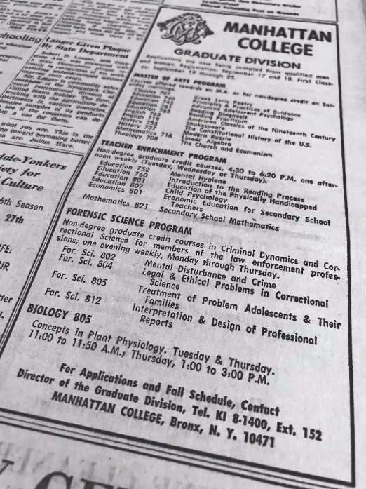 Manhattan College didn't always refer to itself as exclusively a Riverdale school. This 1964 advertisement that appeared in The Riverdale Press lists its address as the Bronx.