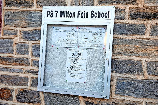 'Canceled' is written on a bulletin board outside P.S. 7 Milton Fein School. Mayor Bill de Blasio announced March 15 that all public schools would be closed from March 16 until at least April 20.