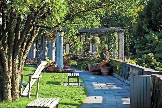 The Pergola overlooks the Hudson River and the Palisades at Wave Hill, a popular spot that will finally become available again when the Independence Avenue gardens reopen July 30. Because the coronavirus pandemic is still ongoing, patrons must purchase tickets in advance.