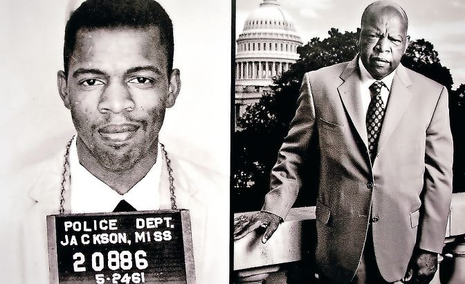 An excerpt from a book by photographer Eric Etheridge, 'Breach of Peace: Portraits of the 1961 Mississippi Freedom Riders' depicts John Lewis, at left in 1961, and at right in 2007 in front of the U.S. Capitol where he represented Georgia's fifth district in the House of Representatives.