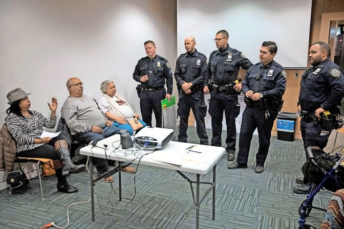After Section 50-a, a state law that kept police records private, was repealed in June, thousands of records previously kept sealed have been released to the public through news outlet ProPublica. Sixty-six officers at the 50th precinct have had at least one substantiated complaint filed against them. Here, officers from the 5-0 meet with community members last year.
