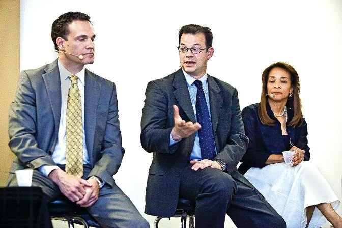 Andrew Cohen, center, has come a long way since one of his early candidate debates for city council back in 2013. In that race, he defeated Cliff Stanton, left, and Shelley Keeling. Seven years later, Cohen is getting ready to retire as a councilman and head to the bench as a supreme court judge.
