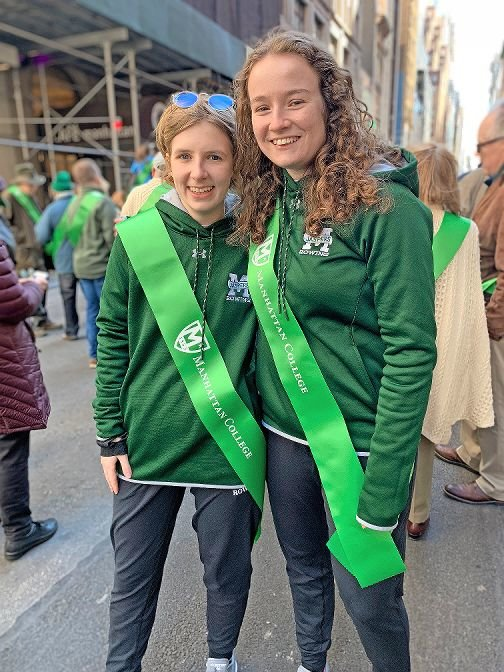 Shannon Gleba is moving back into Manhattan College where she will have both in-person and online classes. As athletes on the school's rowing team, Gleba, left, and Ella O'Brien have trained on their own since the campus shut down last spring.