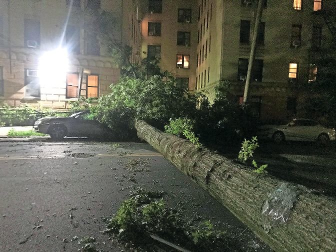 Hurricane Isaias downed hundreds of trees as it swept the northeast Coast, including one near Sedgewick Avenue, which took down power lines and crushed a parked car. More than 20,000 Bronx customers lost power, according to Con Edison, leaving families without lights, air conditioning, or refrigeration for days. Elected officials across the city criticize the company for a lack of preparation before the storm.