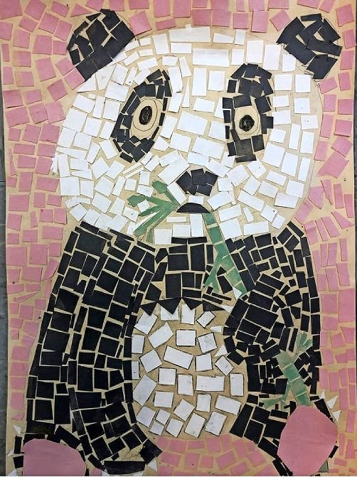 'Panda Mosaic' is a piece by Riverdale/Kingsbridge Academy student Bridgette Donnery, and part of the Lehman Art Gallery's online exhibit with the Bronx Borough Arts Festival.